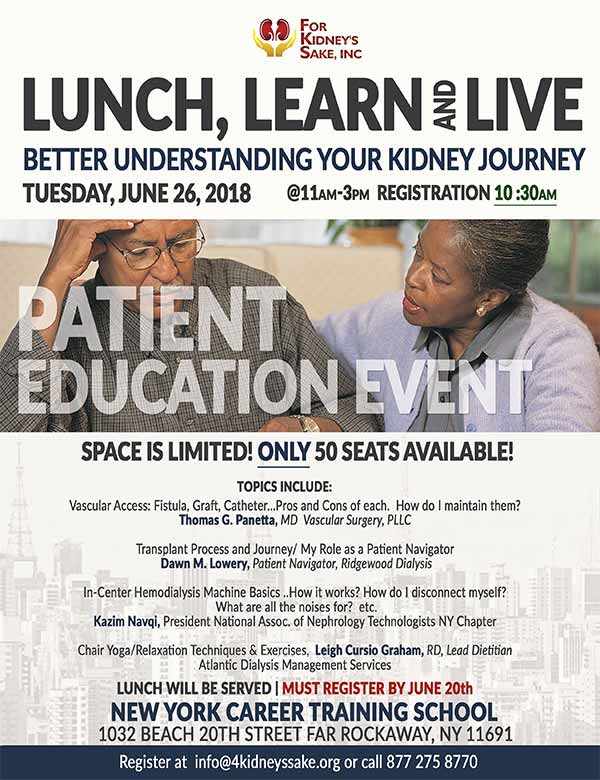 Lunch and Learn Event is hosted by 4 Kidney's Sake - June 2018