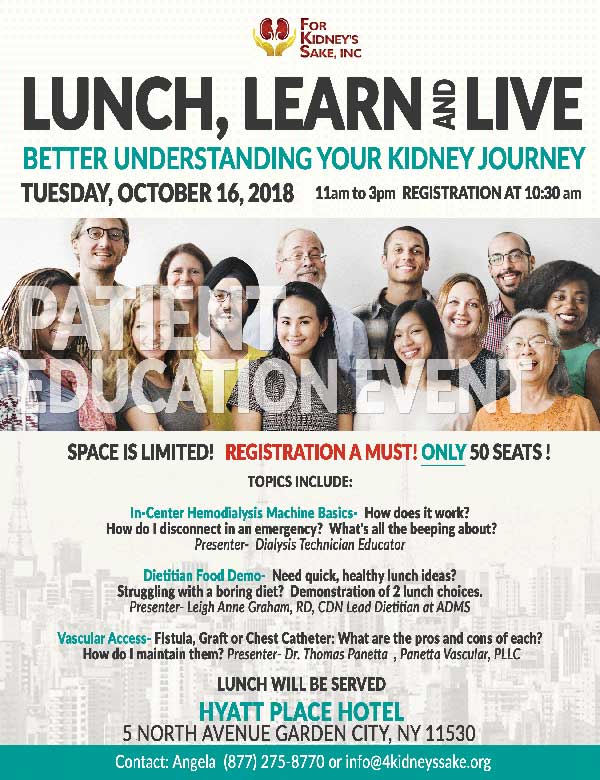 Lunch, learn, and live event hosted by For Kidney's Sake, on Tuesday, Oct. 16, 2018